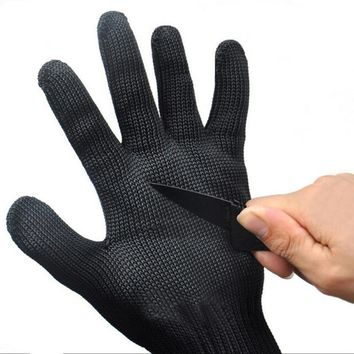 1 Pair Black Working Safety Gloves Cut-Resistant Protective Stainless Steel Wire Butcher Anti-Cutting Gloves