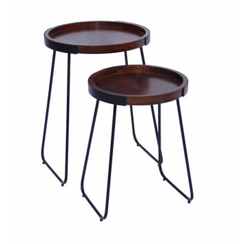 Wooden Round Tray Top End Tables, Brown And Black, Set Of 2 By The Urban Port