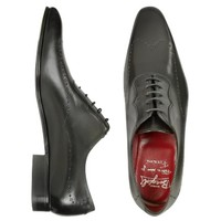 Fratelli Borgioli Designer Shoes Handmade Black Italian Leather Wingtip Dress Shoes