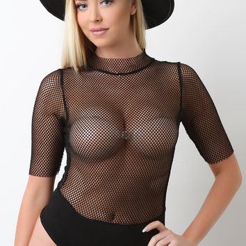 Semi-Sheer Fishnet Mesh Mock Neck Bodysuit