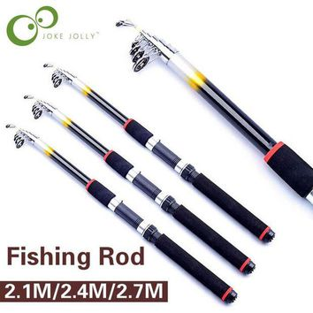 DCCK7N3 2.1M/2.4M/2.7M Portable Telescopic Fishing Rod Travel Spinning Fishing Pole Glass Fiber Sea Rod Fishing Tackle Tools GYH