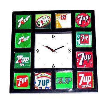 History of 7-UP UnCola soda pop Clock with 12 classic images Un Cola