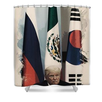 Watercolor Portrait Of President Donald Trump 2 - Shower Curtain