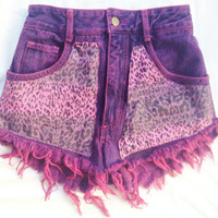 One of a Kind Vintage Purple and Pink Leopard High Waist Shorts