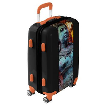 Blue Asian warrior statue photo luggage suitcase