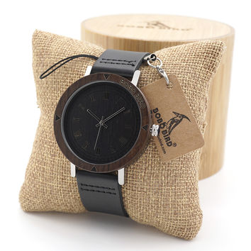 BOBO BIRD Mens Wooden Bezel Watches Vintage Light Style Wood Wrist Watches With Leather Band In Wood Box