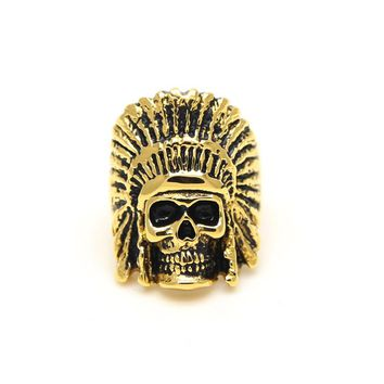 JHNBY Titanium steel indian skull face ring Gold-color Men ring High quality fashion accessory jewelry New