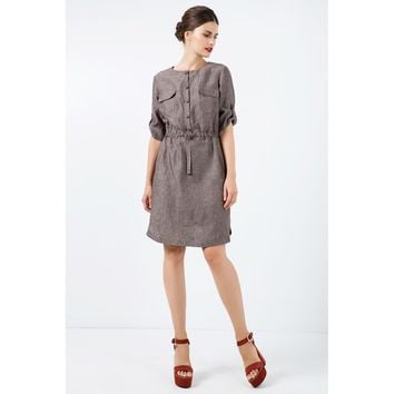 Brown Round Neck Sleeves Summer Dress