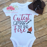 Cutest camper by the fire, Camping bodysuit, First time camper,Bon Fire,  Baby camping bodysuit, camping shirt, Smores, Girls clothing