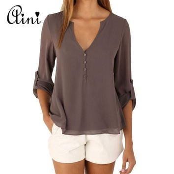 Plus Size 5XL Women Tops and Blouse Long Sleeve Solid V-neck Loose Chiffon Blouses 2018 Summer Top Boho Female Shirts Korean Top