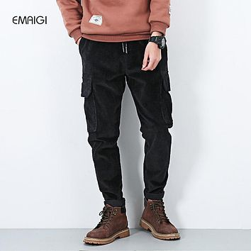Men leisure cargo pant corduroy sweatpants fashion casual harem pant high quality hip hop men's jogger  trousers X1902