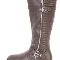 Dark Brown Stitched Riding Boots Faux Leather