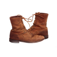 Vintage Women's Suede Leather Western Boots with Tassels Justin Brand Brown Suede Boots Size 9
