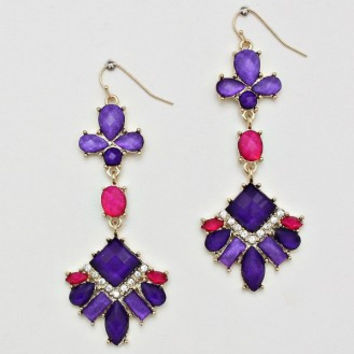Dangle Cocktail Earrings - Pink and Purple