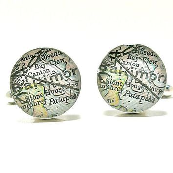 Baltimore Maryland Antique Map Cufflinks