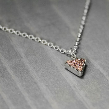 Drusy Necklace, Rose Gold Coated Drusy , Gemstone Necklace, Rose Gold Necklace, Triangle Pendant, Geometric Necklace, Druzy Necklace