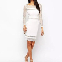 Stylish Round-neck Long Sleeve Lace See Through Patchwork Slim Women's Fashion One Piece Dress [6338931329]