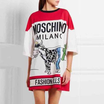 DCCKB62 MOSCHINO Print Women Short Sleeve Dress
