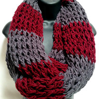 The Gentleman's Crochet Infinity Scarf: Gray and Maroon