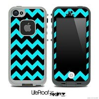 Aqua Blue and Black V2 Chevron Pattern Skin for the iPhone 5 or 4/4s LifeProof Case