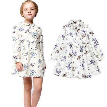 Hot Sell New Arrival 2017 Summer Baby Girls Dresses Kids Clothes Long sleeve Dress Peter Pan Collar Children Clothing Vestidos