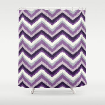 Ikat Chevron: Purple Tonal  Shower Curtain by Eileen Paulino