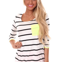 Ivory Striped Electric Lime Detail Top
