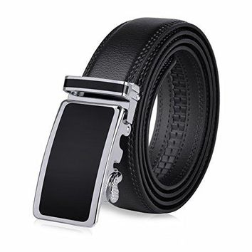 Vbiger Men's Leather Belt Sliding Buckle Ratchet Belt 35mm Wide 1 3/8""