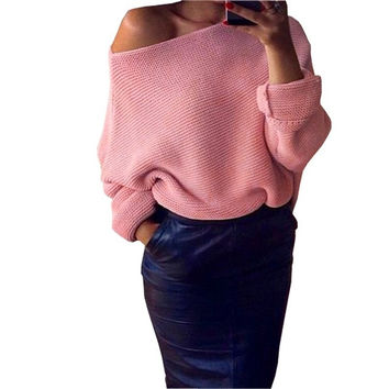 2016 New Winter Women Sweater Long Sleeve Solid Knitted Sweater Off Shoulder Pullover Sweaters Female Casual Knitwear Plus Size