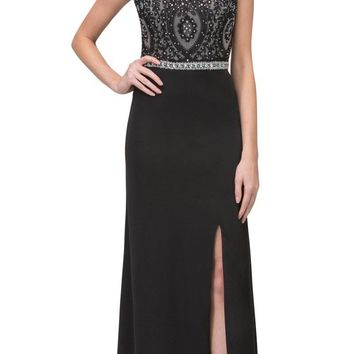 Black Long Formal Dress Appliqued Bodice with Slit