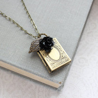 Book Locket Necklace Black Rose Charm Pendant Picture Locket Rustic Wedding Unique Holiday Gift Booklovers Gift For Girlfriend Keepsake