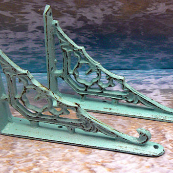 Wall Bracket Cast Iron Shelf Ornate Brace Shabby Cottage Style Chic Beachy Blue Decorative Small Petite 1 Pair (2 individual brackets)