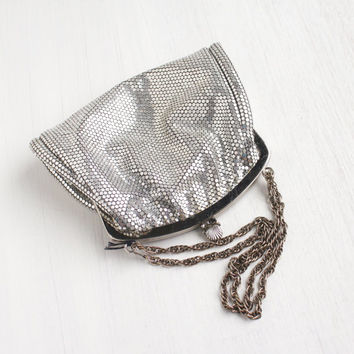 Vintage Silver Mesh Evening Purse - Mid Century 1950s Designer Lumured New Old Stock Bag / Silver Sparkle
