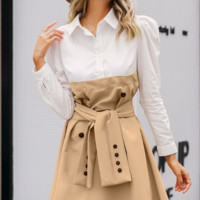 New stitching dress fashion Slim casual skirt commute Women's A-line skirt
