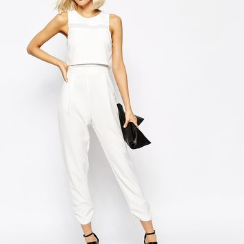 River Island Mesh Mix Jumpsuit