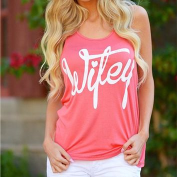 Plus Size 2017 New Causal Style Women's Top Neck Sleeveless Letter Printing Women Round Neck Sexy Fitness Fashion Tops Sundress