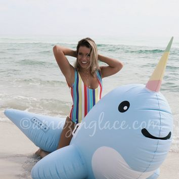Narwhal Inflatable Beach Floaty