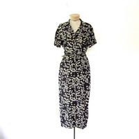 Vintage long silk dress • Button Front dress • Floral silk dress • Black and White