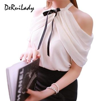 DERUILADY Off Shoulder Top Women Sexy Shirt 2018 New Summer Office Lady White Elegant Blouses Ladies Bow Chiffon Casual Blouse
