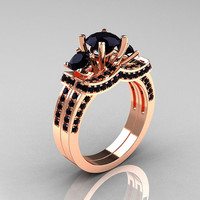 French 14K Rose Gold Three Stone Black Diamond Wedding Ring, Engagement Ring Bridal Set R182S-14KRGBD
