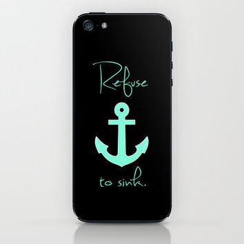 Refuse to sink Tiffany Anchor iPhone & iPod Skin by Rex Lambo | Society6