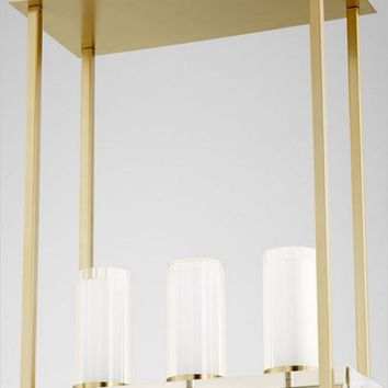 Orion Three Light Contemporary Aged Brass Pendant Lighting Fixture by Cyan Design