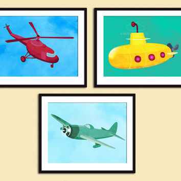 Set of 3 Art Print, Transport Wall Art, Boy's Gift, Kids Decor, Plane Helicopter Submarine Digital Illustration, Nursery Transportation