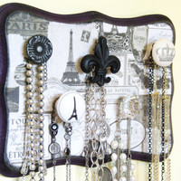 Jewelry Display, Necklace Hanger, Paris Theme, Elegant Decor, Purple and Black and Gray