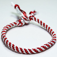 Kumihimo Bracelet Candy Cane Red and White Satin Cord