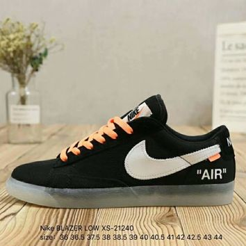 NIKE BLAZER LOW x OFF-WHITE Joint Men's and Women's Low Top Shoes F-A36H-MY Black