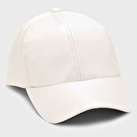 Faux Leather Weekend Baseball Hat - White