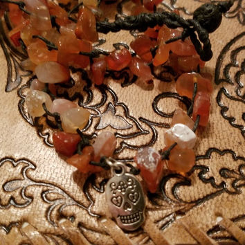 Gemstone Necklace, Carnelian Stone chips with Sugar Skull Pendant