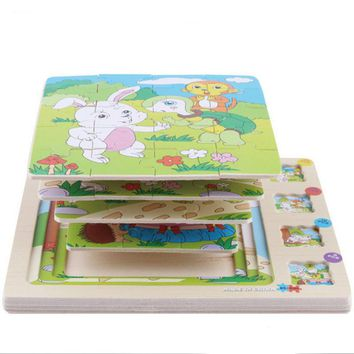 Wooden Animals Scene Multilayer 3D Stories Jigsaw Puzzles Baby Educational Childhood Intelligence Games Kids Toys for Children