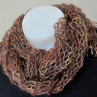 Silky Hand Knit Mesh Scarf in Copper Brown Metallic Autumn Colors